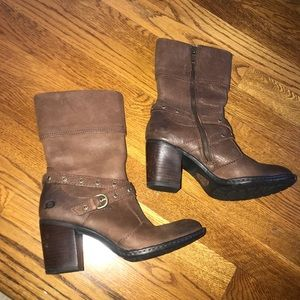 Born Brown leather ankle strap boots size 7